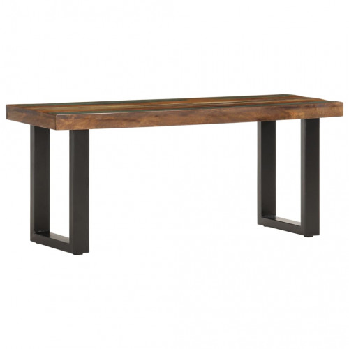 vidaXL Bänk 110 cm massivt återvunnet trä och stål