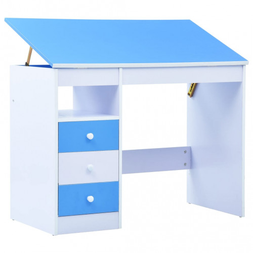vidaXL Skrivbord för barn lutbart blå och vit