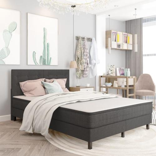 Dream Living Huvudgavel mörkgrå tyg tuftad 140x200 cm