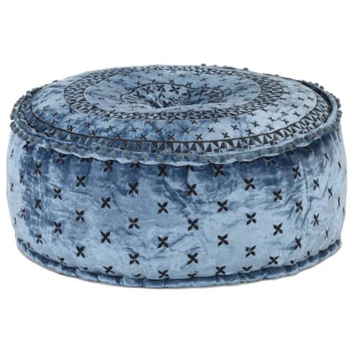vidaXL Rund sammetspuff med broderi 60x25 cm blå