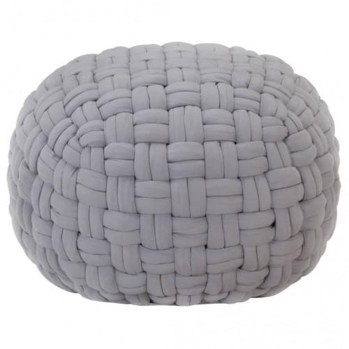 Dream Living Sittpuff flätad design grå 50x35 cm bomull