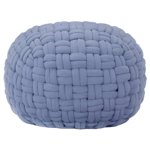 Dream Living Sittpuff flätad design blå 50x35 cm bomull