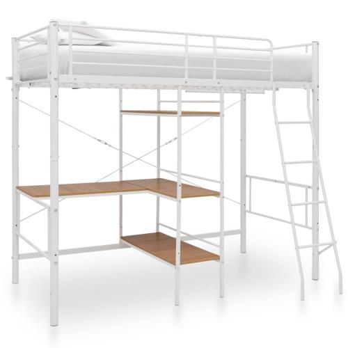 vidaXL Våningssäng med bord vit metall 90x200 cm