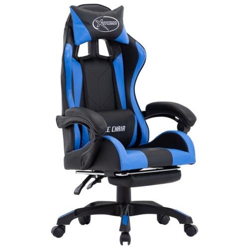 vidaXL Gamingstol med fotstöd blå och svart konstläder