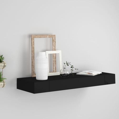 vidaXL Svävande vägghylla med låda svart 80x25x8 cm