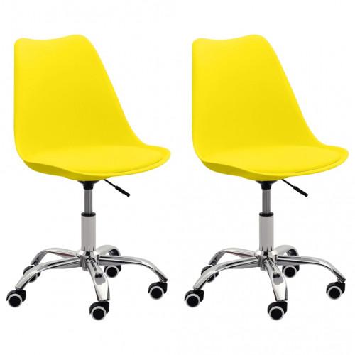 Dream Living Kontorsstolar 2 st gul konstläder