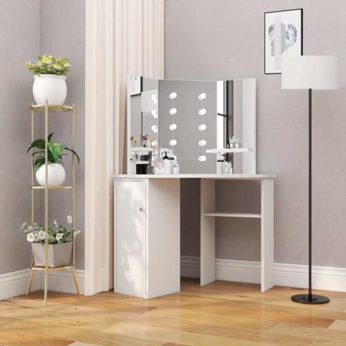 vidaXL Sminkbord med LED-lampor hörn vit