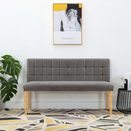 vidaXL Bänk 140 cm grå tyg