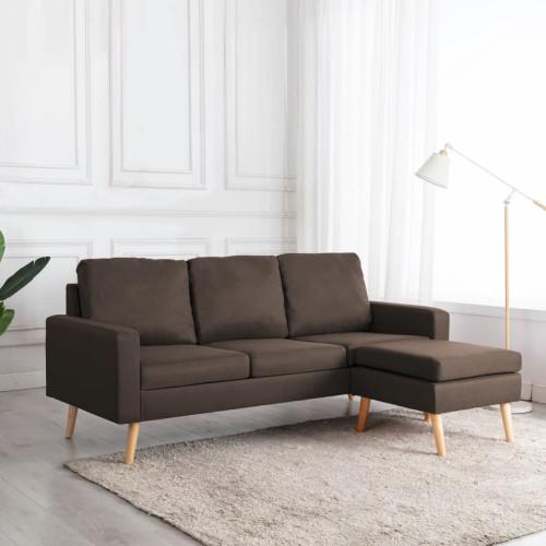Dream Living 3-sitssoffa med fotpall brun tyg