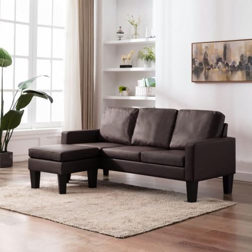 Dream Living 3-sitssoffa med fotpall brun konstläder