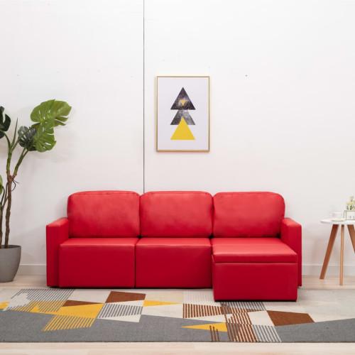 Dream Living Bäddsoffa modulär 3-sits röd konstläder