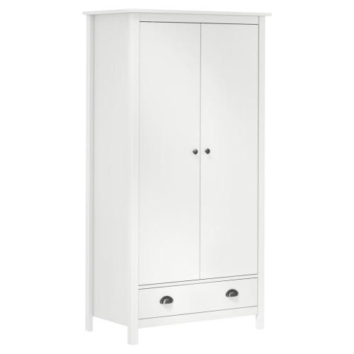 vidaXL Garderob 2 dörrar Hill Range vit 89x50x170 cm massiv furu