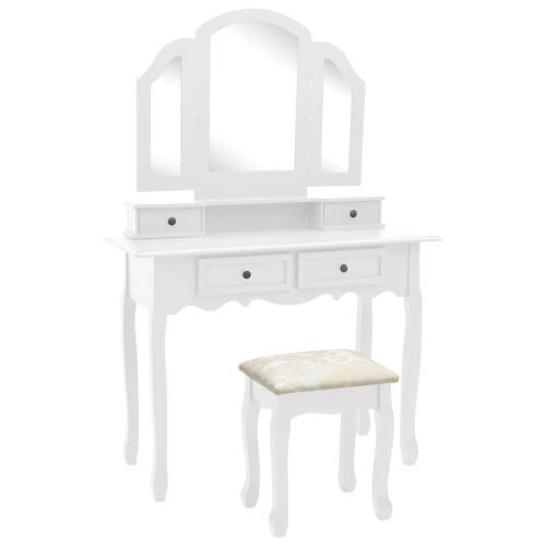 vidaXL Sminkbord med pall vit 100x40x146 cm kejsarträ