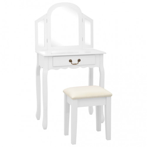 vidaXL Sminkbord med pall vit 65x36x128 cm kejsarträ MDF