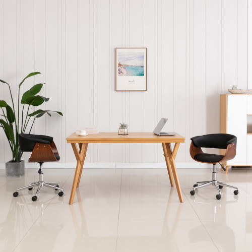 Dream Living Snurrbar kontorsstol svart böjträ och konstläder