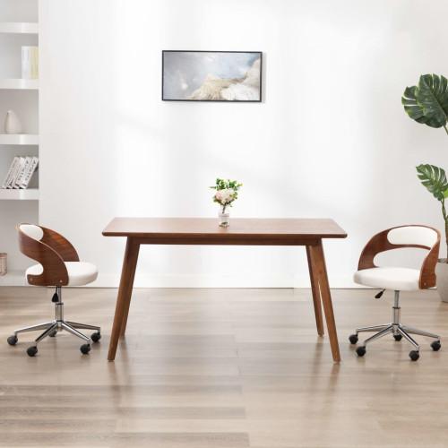 vidaXL Snurrbar kontorsstol böjträ och konstläder vit