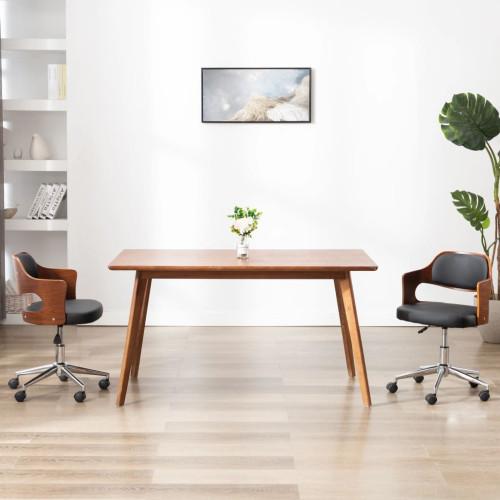 Dream Living Snurrbar kontorsstol böjträ och konstläder svart