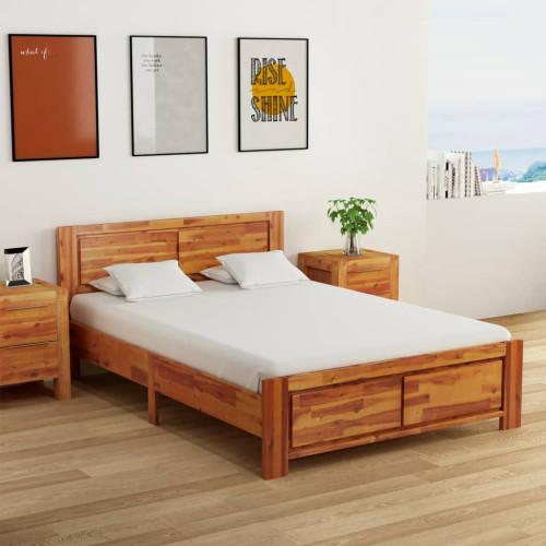 vidaXL Sängram med 2 sängbord massivt akaciaträ 140x200 cm