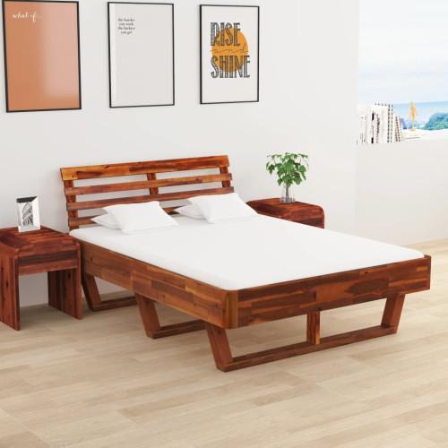 Dream Living Sängram med 2 sängbord massivt akaciaträ 140x200 cm