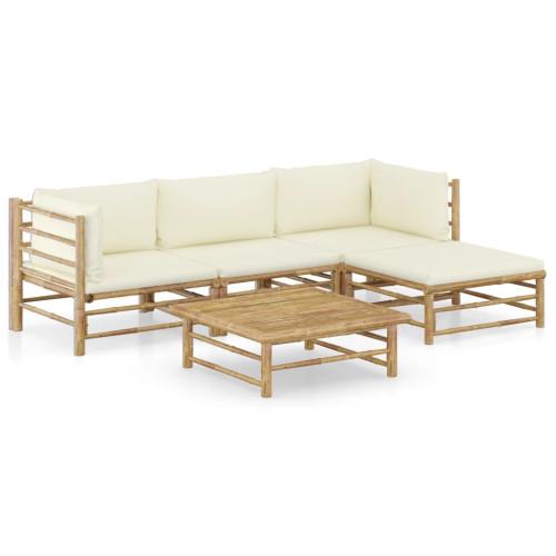 Dream Living Loungegrupp för trädgården med gräddvita dynor 5 delar bambu