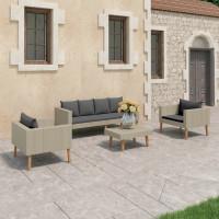 Dream Living Loungegrupp för trädgården med dynor 4 delar konstrotting beige
