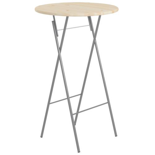 vidaXL Hopfällbart ståbord 60x113 cm stål och naturlig furu