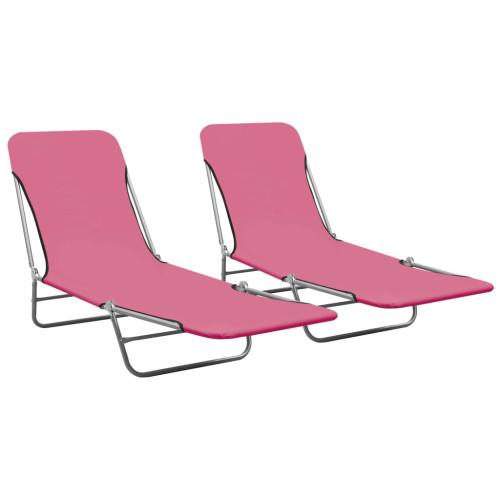 vidaXL Hopfällbara solsängar 2 st stål och tyg rosa