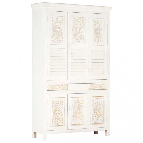 Dream Living Garderob vit 120x40x200 cm massivt mangoträ