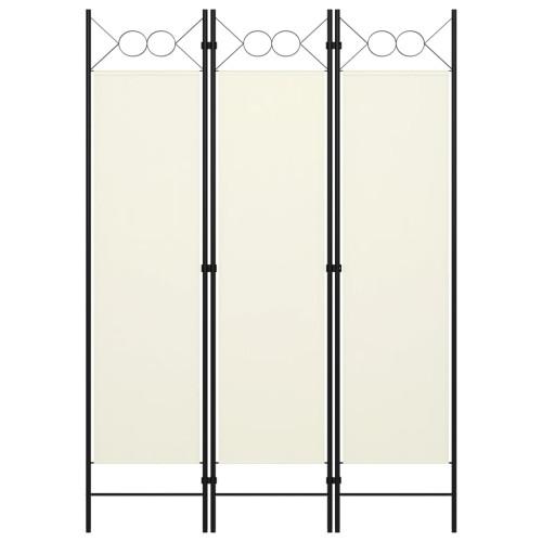 vidaXL Rumsavdelare 3 paneler gräddvit 120x180 cm