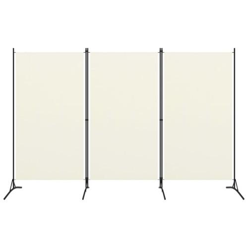 vidaXL Rumsavdelare 3 paneler gräddvit 260x180 cm