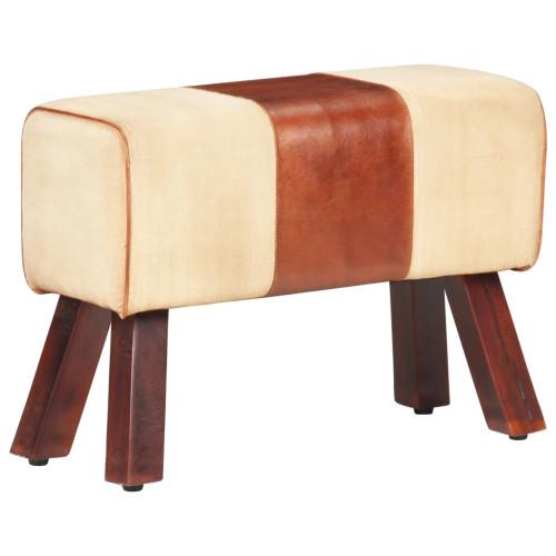 Dream Living Bänk 58 cm brun kanvastyg och äkta skinn