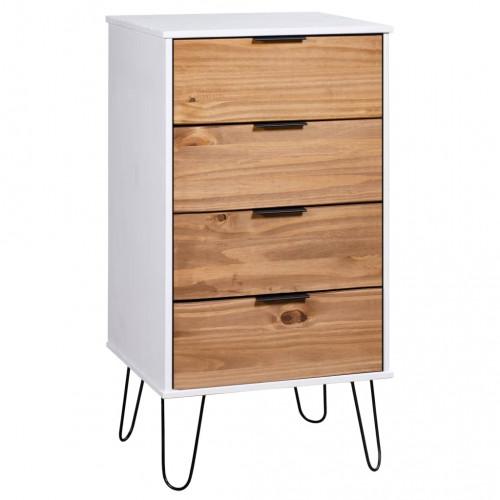 vidaXL Byrå ljust trä och vit 45x39,5x90,3 cm furu