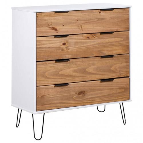Dream Living Byrå ljust trä och vit 76,5x39,5x90,3 cm furu
