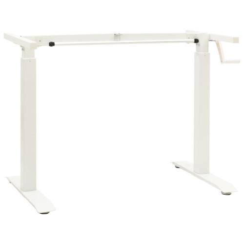 vidaXL Justerbar skrivbordsram med vev manuell vit