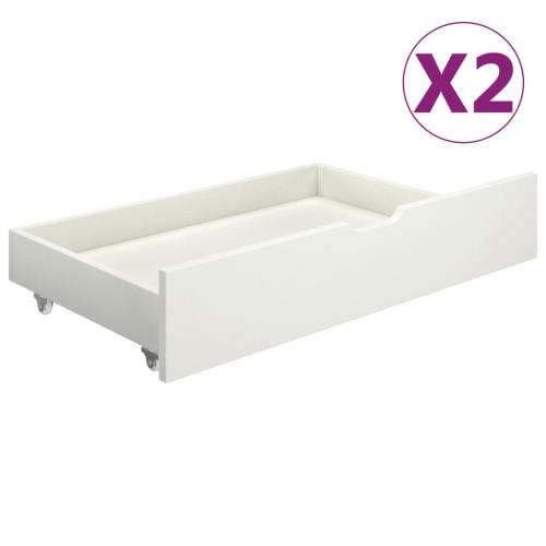 vidaXL Sänglådor 2 st vit massiv furu