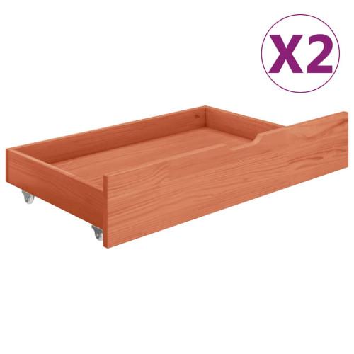 vidaXL Sänglådor 2 st honungsbrun massiv furu