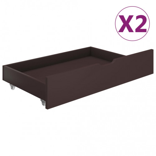 Dream Living Sänglådor 2 st mörkbrun massiv furu