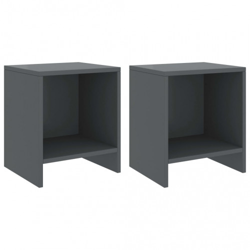 Dream Living Sängbord 2 st mörkgrå 35x30x40 cm massiv furu
