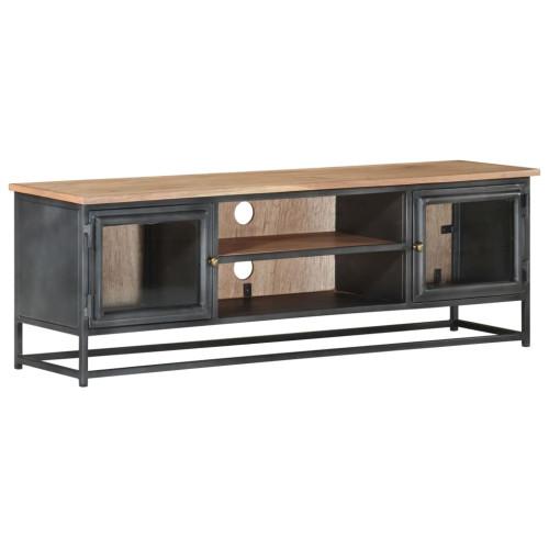 Dream Living Tv-bänk grå 120x30x40 cm massivt akaciaträ och stål