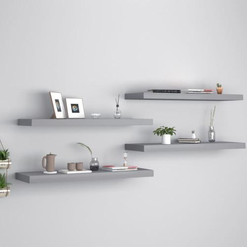 vidaXL Svävande vägghyllor 4 st grå 80x23,5x3,8 cm MDF