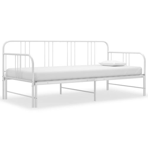 Dream Living Utdragbar sängram bäddsoffa vit metall 90x200 cm