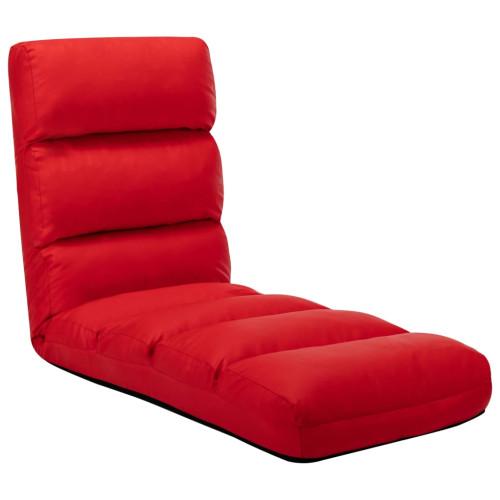 vidaXL Golvstol vikbar röd konstläder