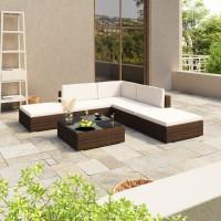 Dream Living Loungegrupp för trädgården med dynor 6 delar konstrotting brun