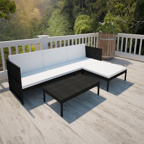 Dream Living Loungegrupp för trädgården med dynor 3 delar konstrotting svart