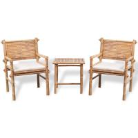 Dream Living Caféset med dynor 3 delar bambu