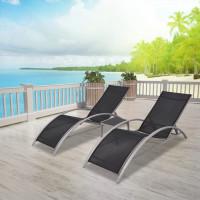 Dream Living Solsängar med bord aluminium svart