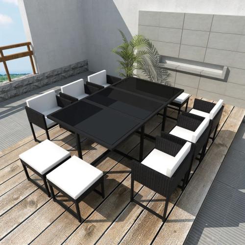 Dream Living Matgrupp för trädgården med dynor 11 delar konstrotting svart
