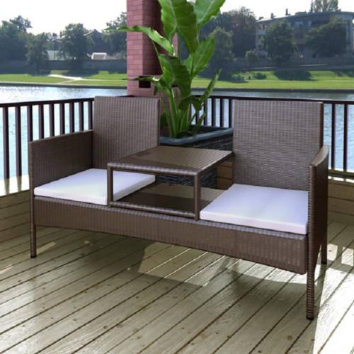 vidaXL Trädgårdssoffa 2-sits med bord konstrotting brun