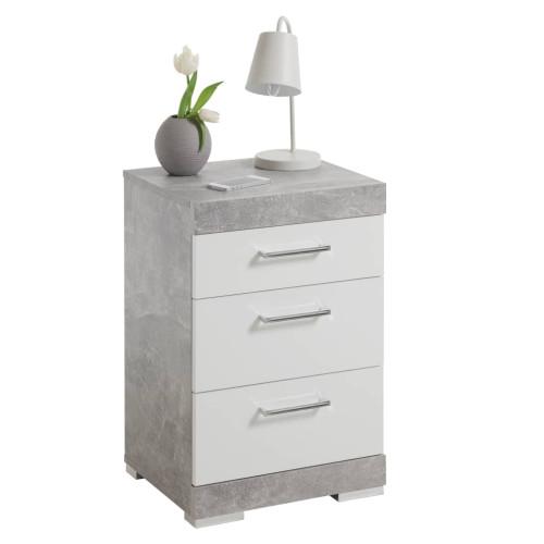 FMD FMD Sängbord med 3 lådor betonggrå och vit högglans