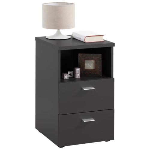 FMD FMD Sängbord med 2 lådor och öppen hylla svart